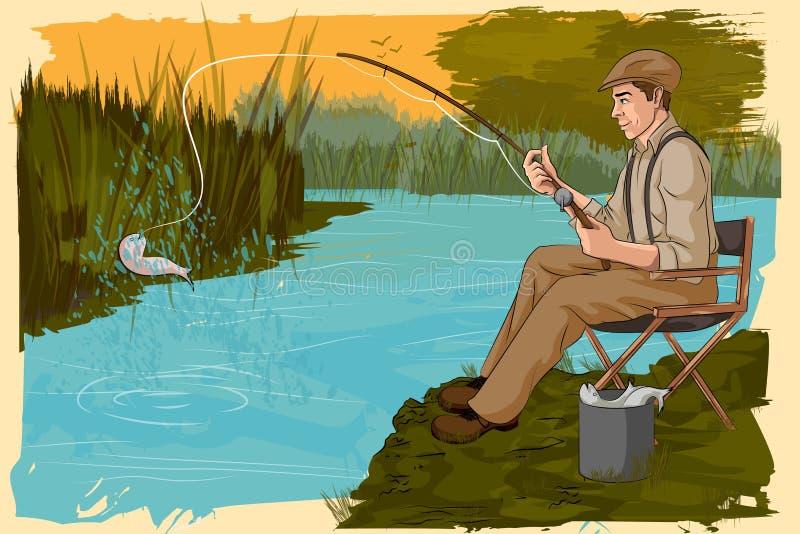 Rétro pêche d'homme en rivière illustration stock