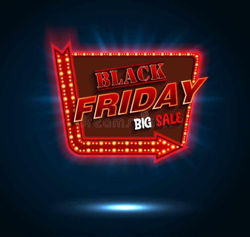 Rétro panneau d'affichage de vendredi de cadre noir de lumière et bannière de flèche illustration de vecteur