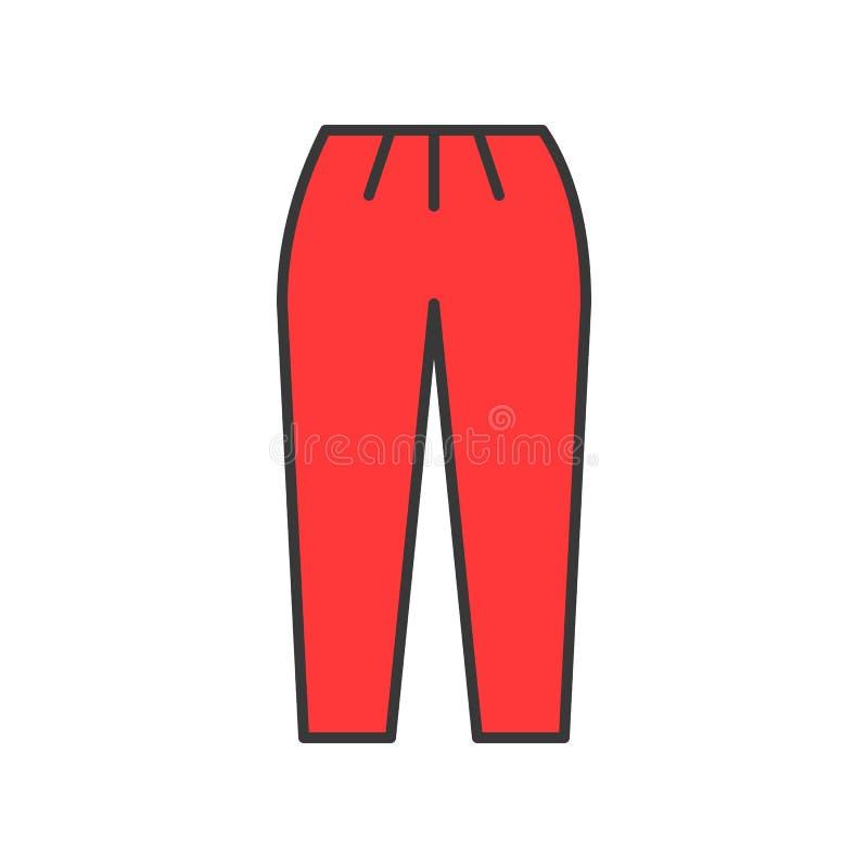 Rétro pantalon, course editable remplie d'ensemble de couleur illustration de vecteur