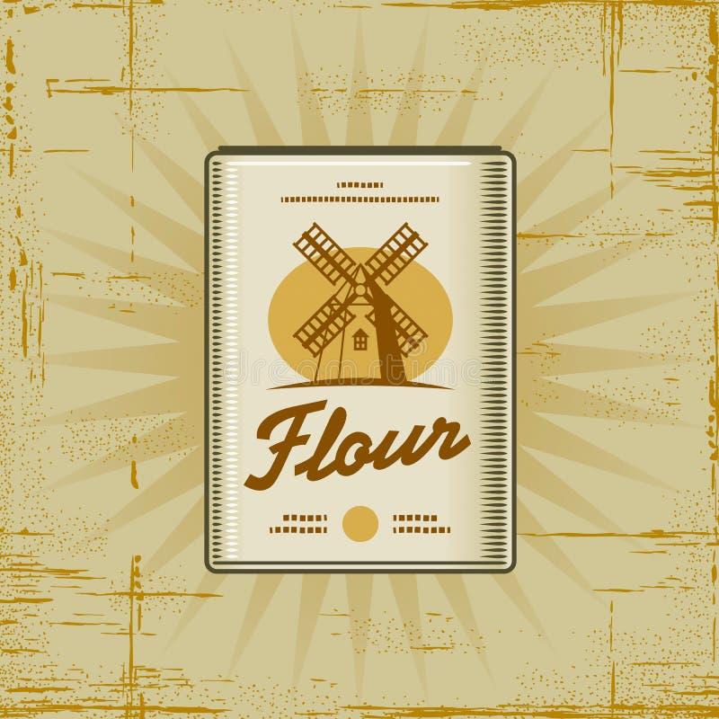 Rétro paquet de farine illustration libre de droits