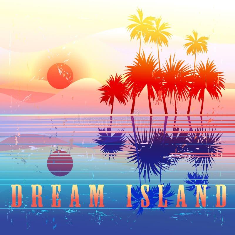 Rétro paradis coloré d'île illustration stock