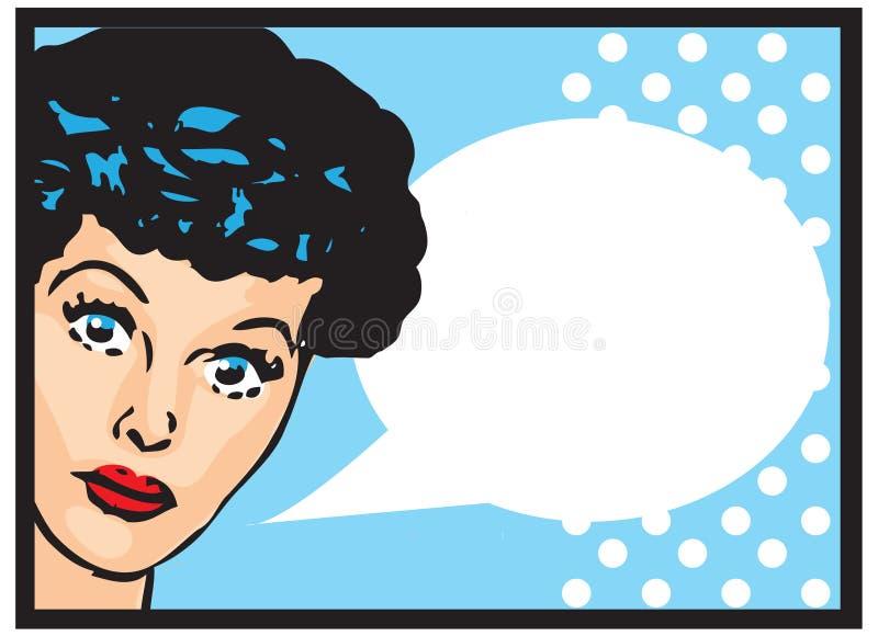 Rétro parler de fille d'Art Woman Advertisement Pop Art d'agrafe de vintage illustration stock