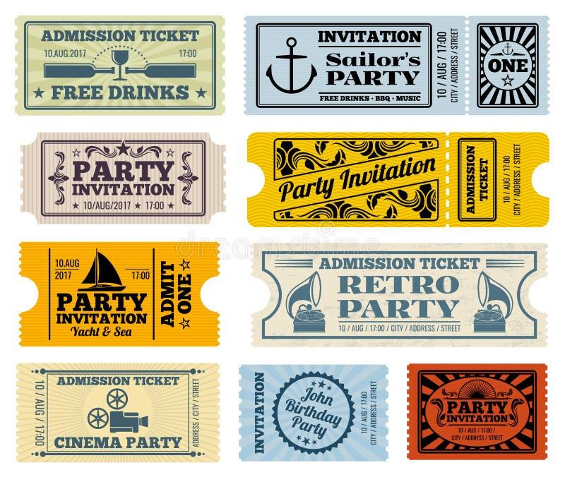 Rétro partie, cinéma, billets de vecteur d'invitation réglés illustration libre de droits