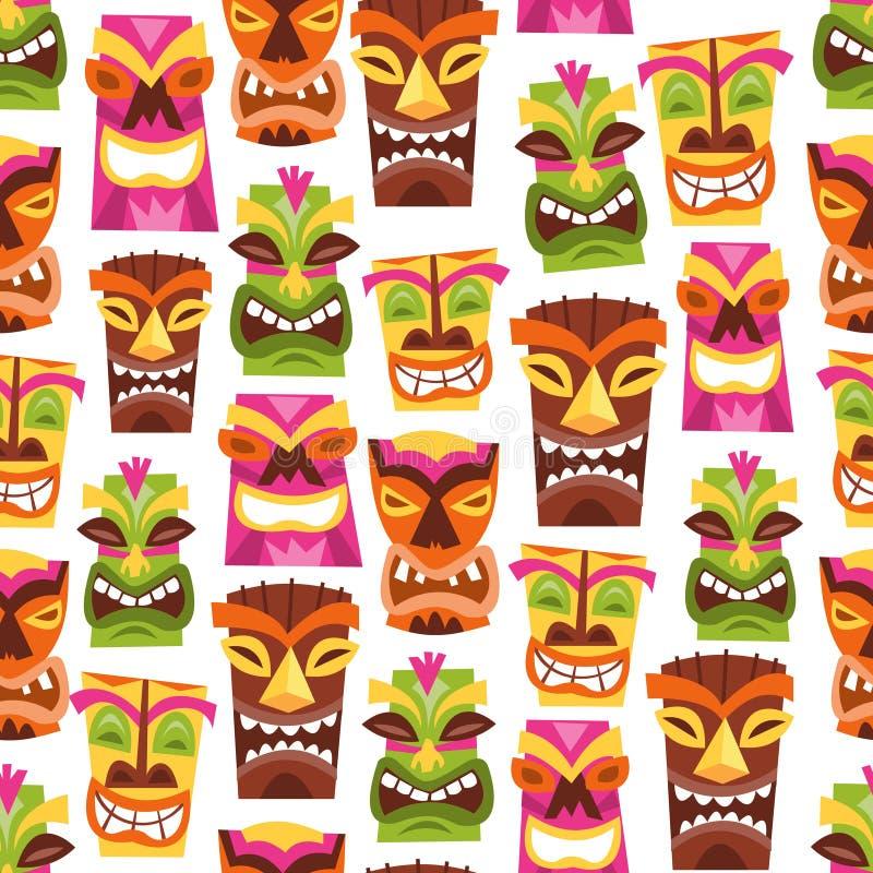 Rétro partie hawaïenne Tiki Seamless Pattern Background de Luau illustration libre de droits