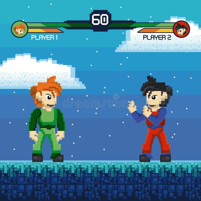 Rétro paysage pixelated de combat par jeu vidéo illustration libre de droits