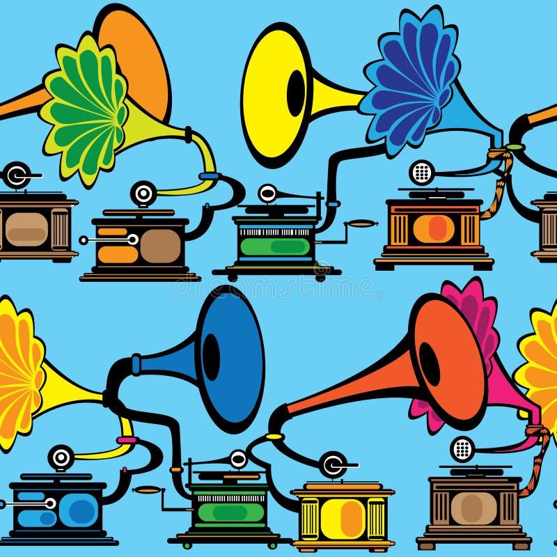 Rétro phonographe multicolore sans couture illustration de vecteur