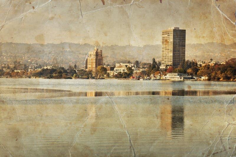 Rétro photographie d'Oakland, paysage de Merritt de lac image stock