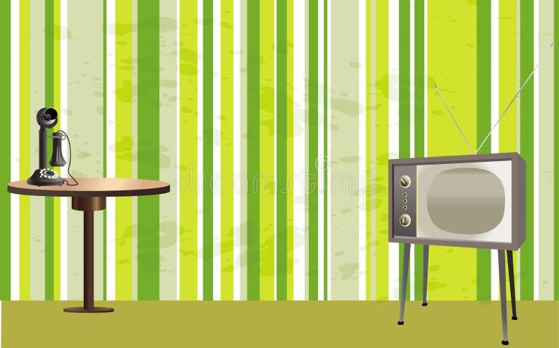 Rétro pièce de type avec la TV, le téléphone et la table illustration libre de droits