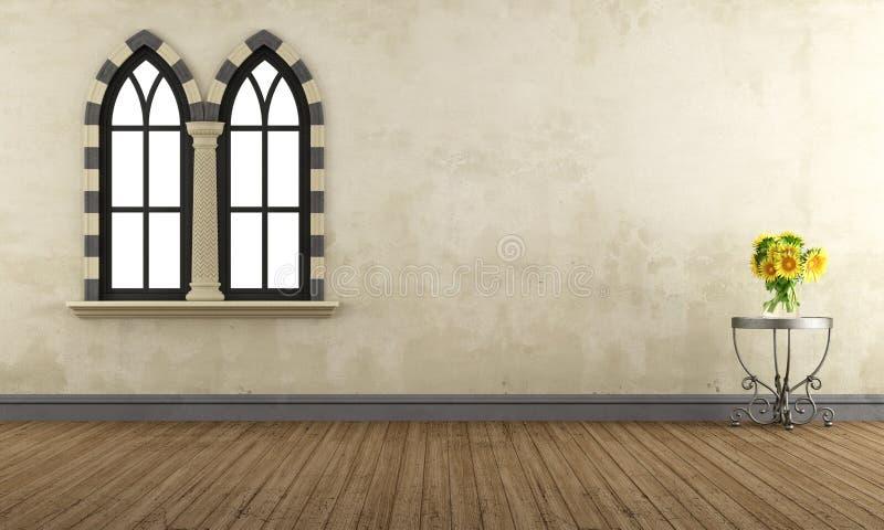 Rétro pièce vide avec les fenêtres gothiques illustration stock