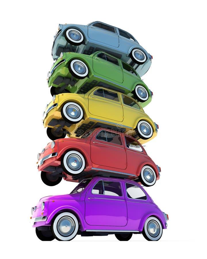 Rétro pile colorée de voiture compacte illustration libre de droits