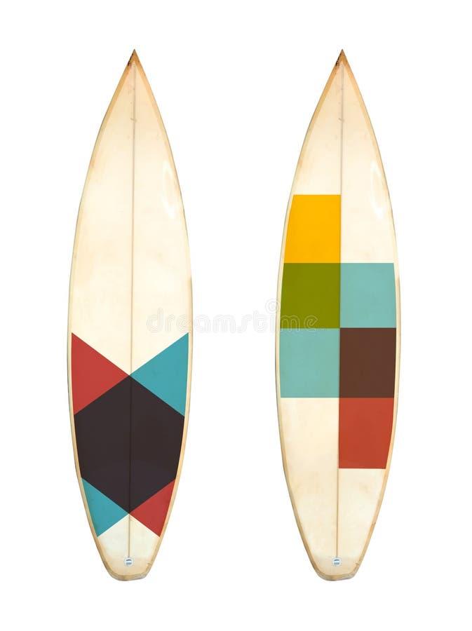 Rétro planche de surf de conseil de short de mousse d'isolement sur blanc avec le chemin de coupage pour l'objet image stock