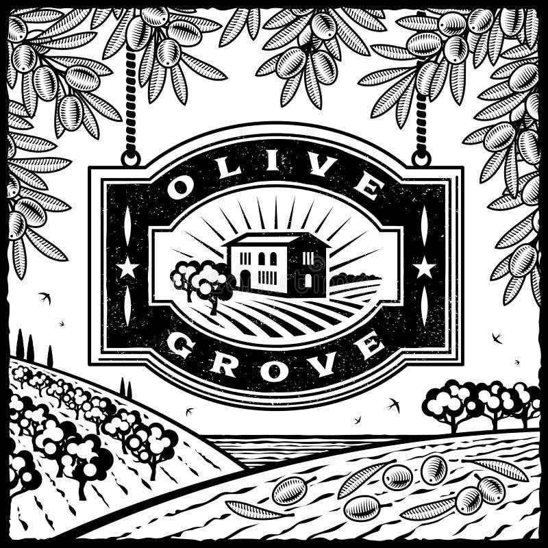 Rétro plantation olive noire et blanche illustration de vecteur