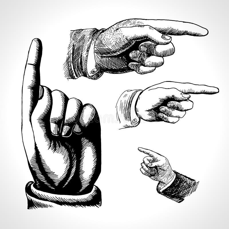 Rétro pointage Vintage et direction, indication par les doigts et représentation illustration libre de droits