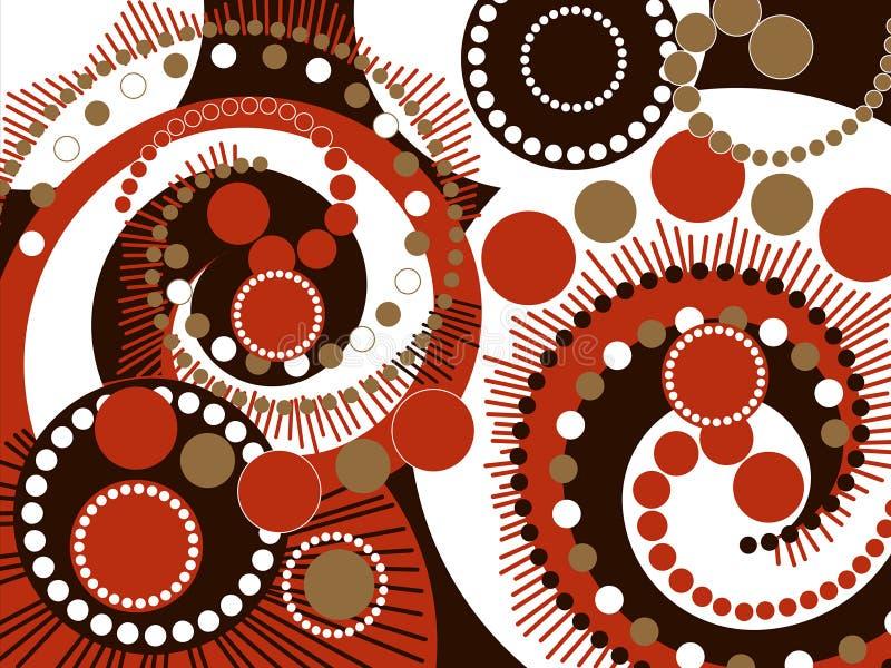 Rétro points spiralés bruns illustration stock