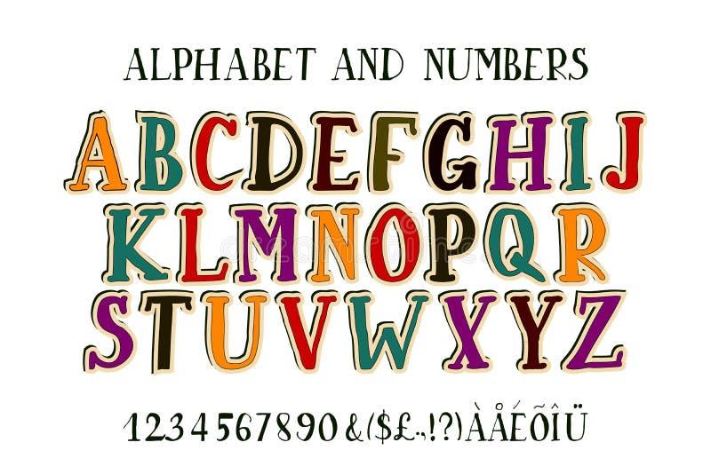 Rétro police d'alphabet illustration libre de droits