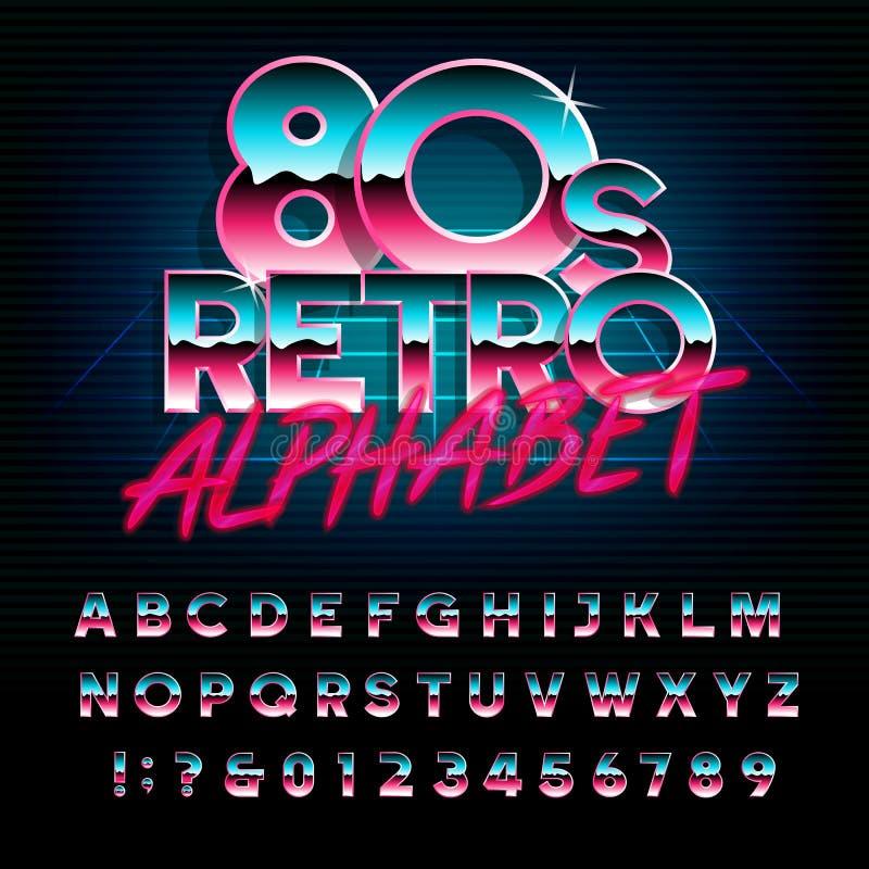 rétro police d'alphabet de 80 ` s Type métallique lettres et nombres d'effet illustration de vecteur