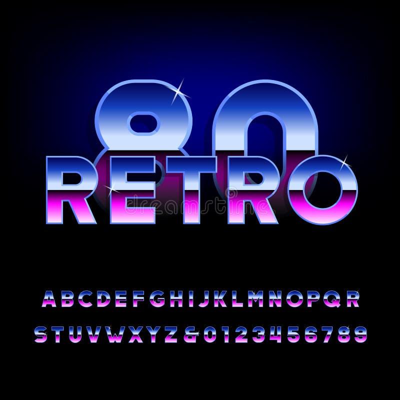 rétro police d'alphabet des années 80 Lettres brillantes et nombres d'effet métallique illustration stock
