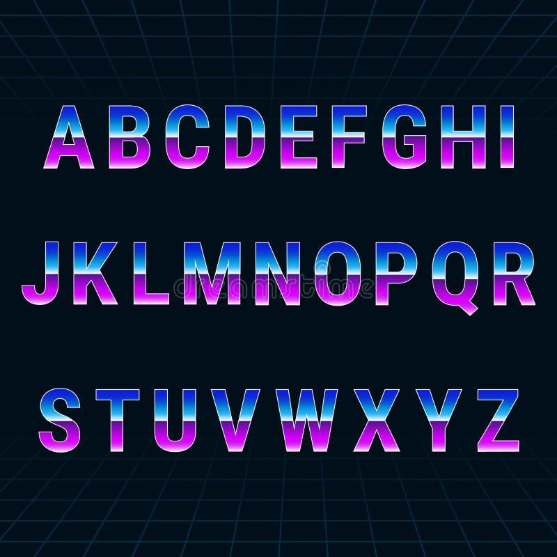 Rétro police d'alphabet 80 du ` s illustration de vecteur
