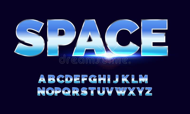 Rétro police d'alphabet Style d'avenir de la science fiction illustration libre de droits