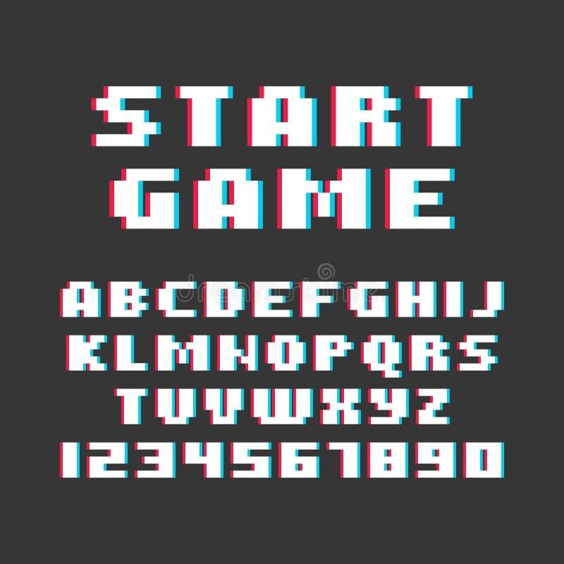 Rétro police de jeu vidéo de style de pixel Vecteur illustration stock