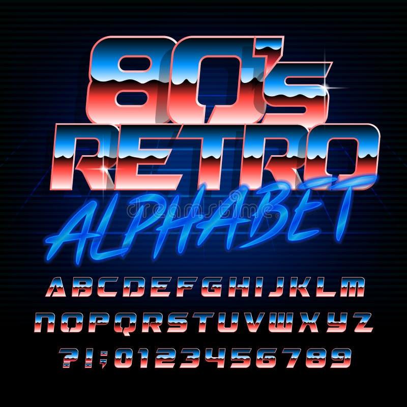rétro police de l'alphabet 80s Lettres lumineuses et nombres d'effet métallique illustration stock