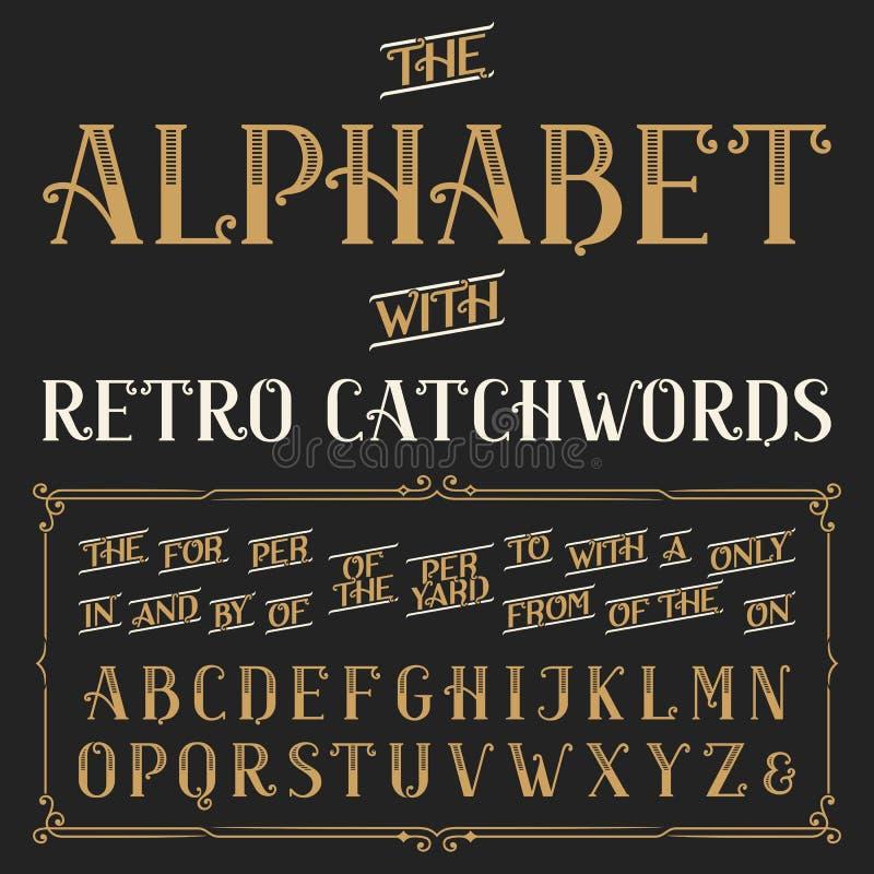 Rétro police de vecteur d'alphabet avec des mots de ralliement illustration libre de droits