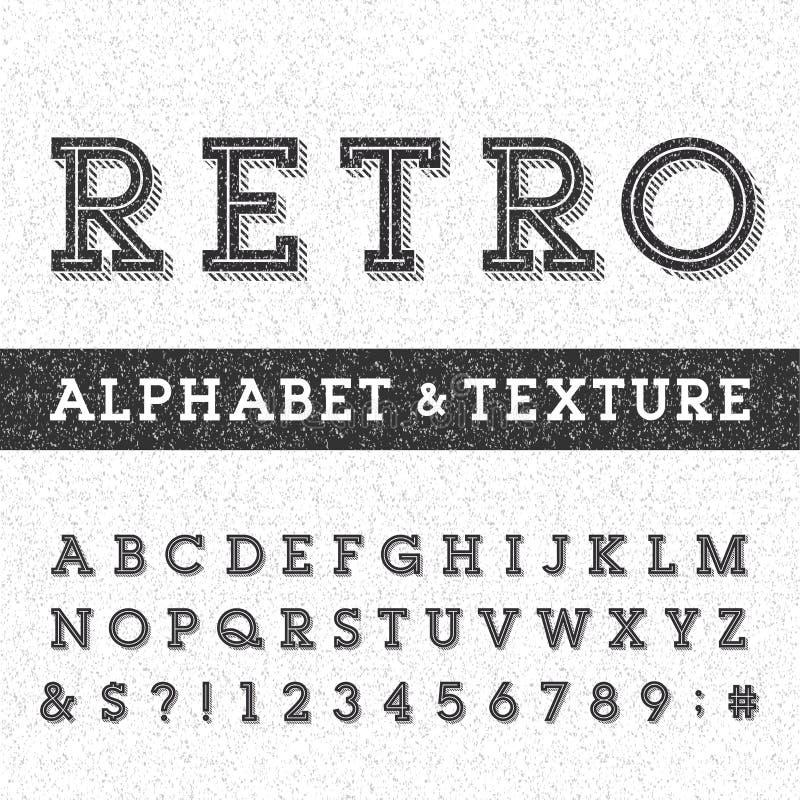 Rétro police de vecteur d'alphabet avec la texture affligée de recouvrement illustration de vecteur