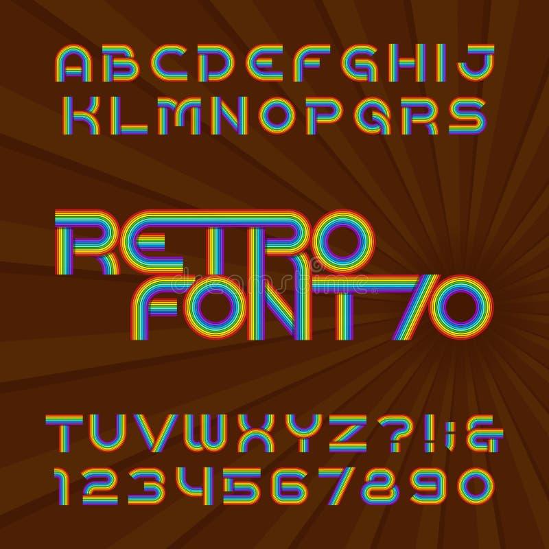 Rétro police de vecteur d'alphabet de rayure Type génial lettres et nombres dans le style de 70 ` s illustration libre de droits