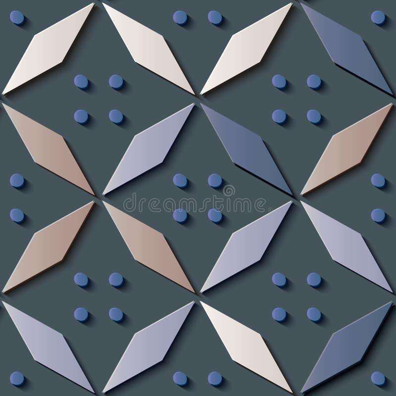 Rétro polygone de modèle en soulagement de décoration sans couture de sculpture, chec illustration de vecteur