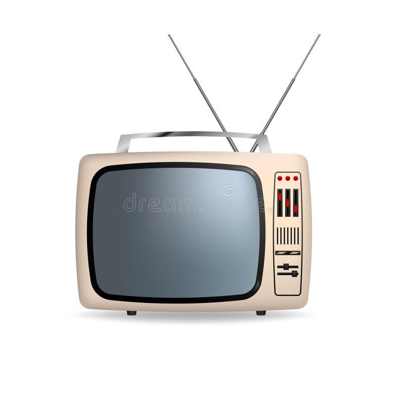 Rétro portable TV de vecteur avec l'écran vide D'isolement sur le fond blanc illustration stock