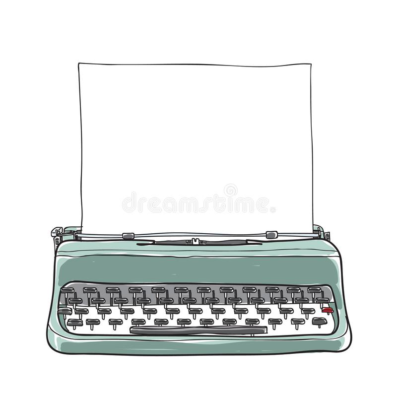 Rétro portatif de machine à écrire bleue de vintage avec le VE tiré par la main de papier illustration stock
