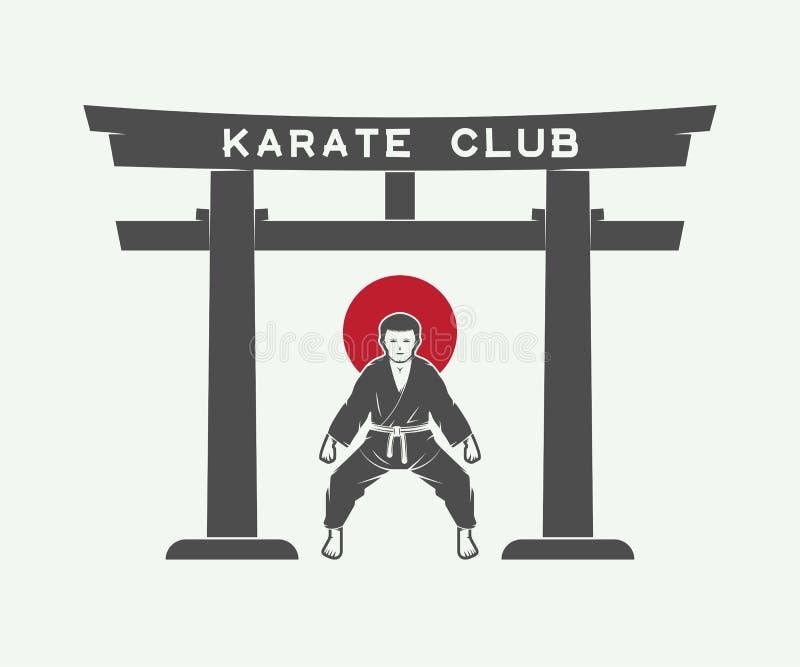 Rétro porte japonaise de torii avec le drapeau du Japon et le combattant de karaté illustration stock