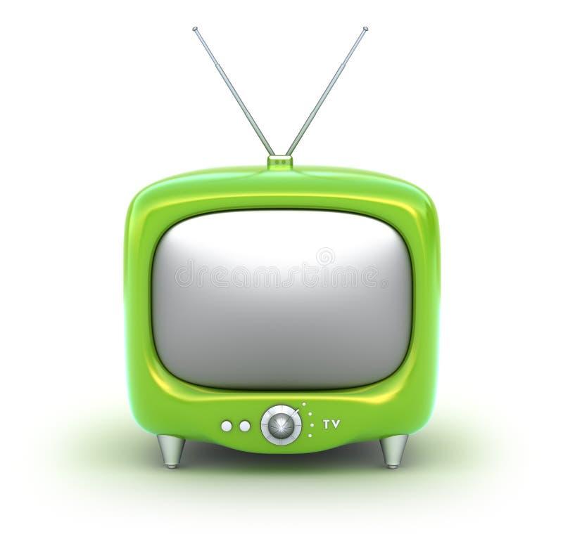 Rétro poste TV vert. D'isolement sur le fond blanc. illustration de vecteur