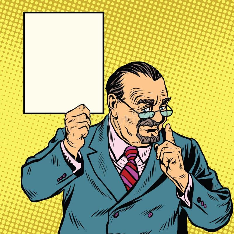 Rétro professeur avec une barbe, signe d'affiche illustration stock