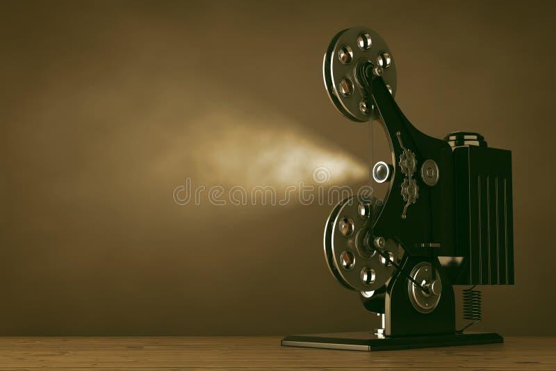 Rétro projecteur de cinéma de pellicule cinématographique rendu 3d illustration libre de droits