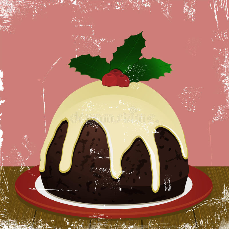 Rétro pudding de Noël illustration de vecteur