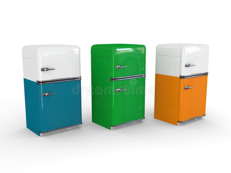 Rétro réfrigérateur blanc, orange, bleu et vert illustration de vecteur