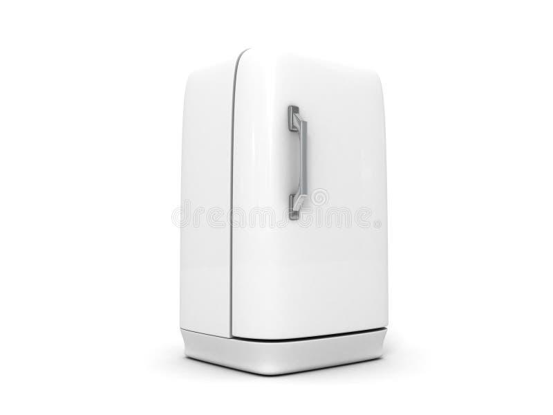 Rétro réfrigérateur d'isolement sur le blanc illustration stock