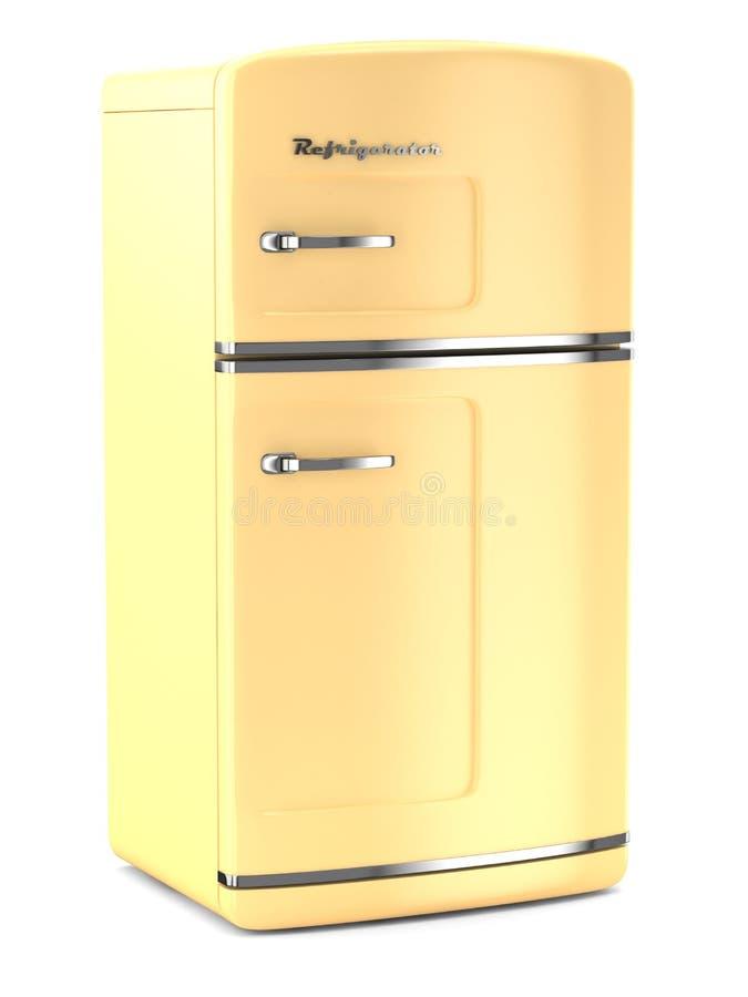 Rétro réfrigérateur sur le fond blanc illustration stock