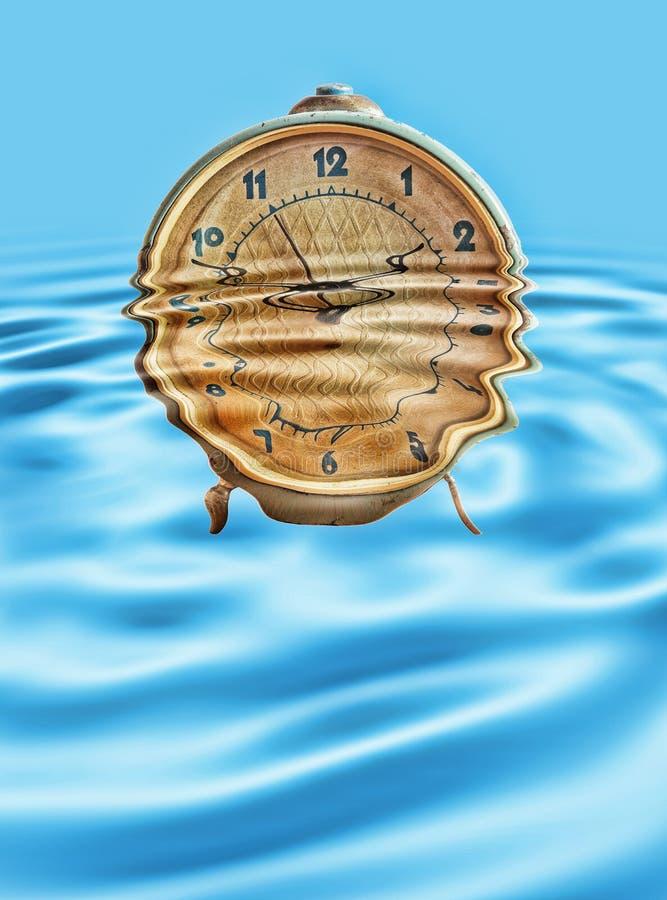 Rétro réveil dans des ondulations de l'eau bleue photo stock