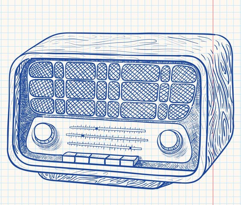 Rétro radio en bois illustration libre de droits