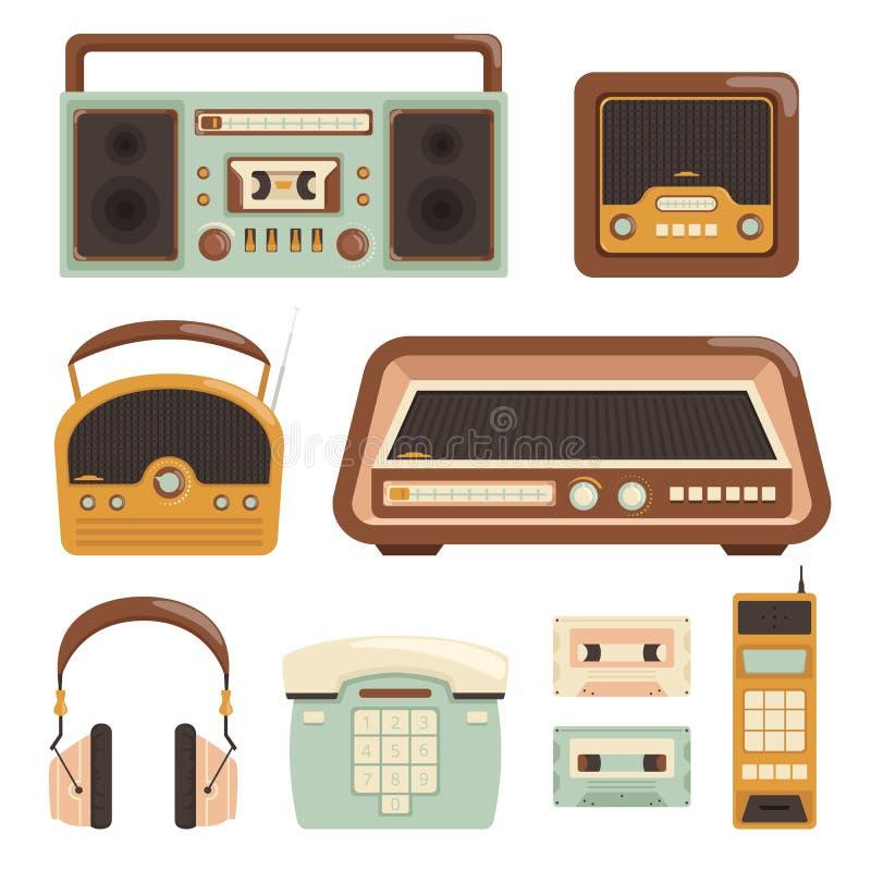 Rétro radio Illustrations électroniques de vecteur d'articles de médias de caméra de photo de téléphone de la technologie 80s illustration de vecteur