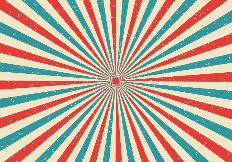Rétro rayon de soleil et fond comique de style de popart de bande dessinée de raies Grunge abstrait de cru avec la lumière du sol illustration stock