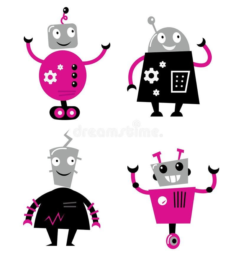 Rétro robots mignons réglés illustration de vecteur