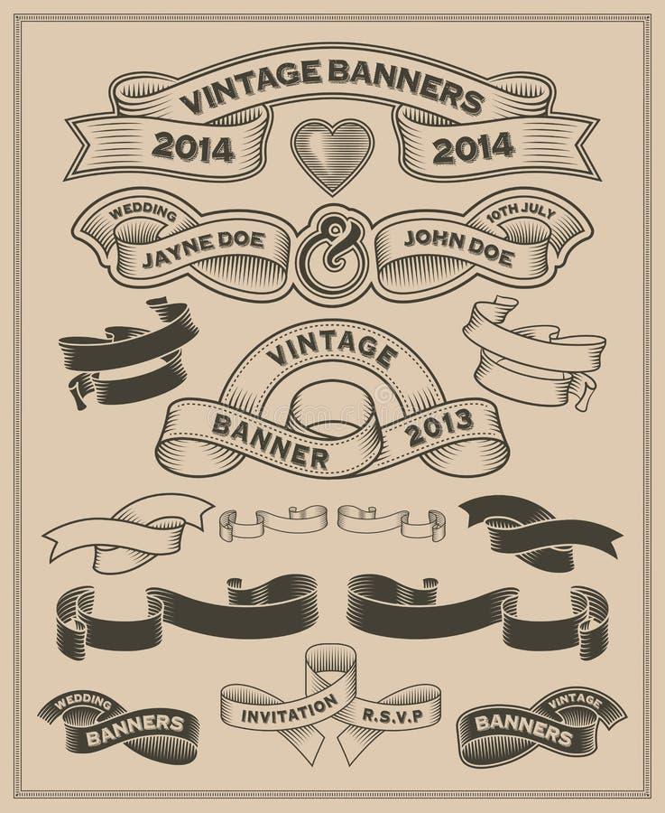 Rétro rouleau de vintage et ensemble de vecteur de bannière illustration stock