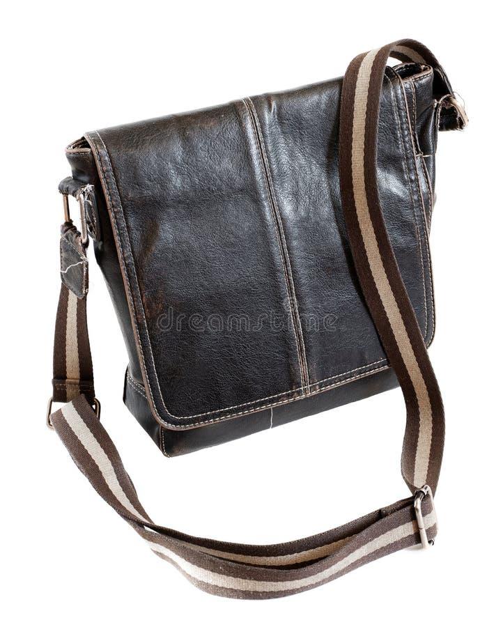 Rétro sac en cuir dénommé occasionnel de bagage d'affaires photographie stock libre de droits