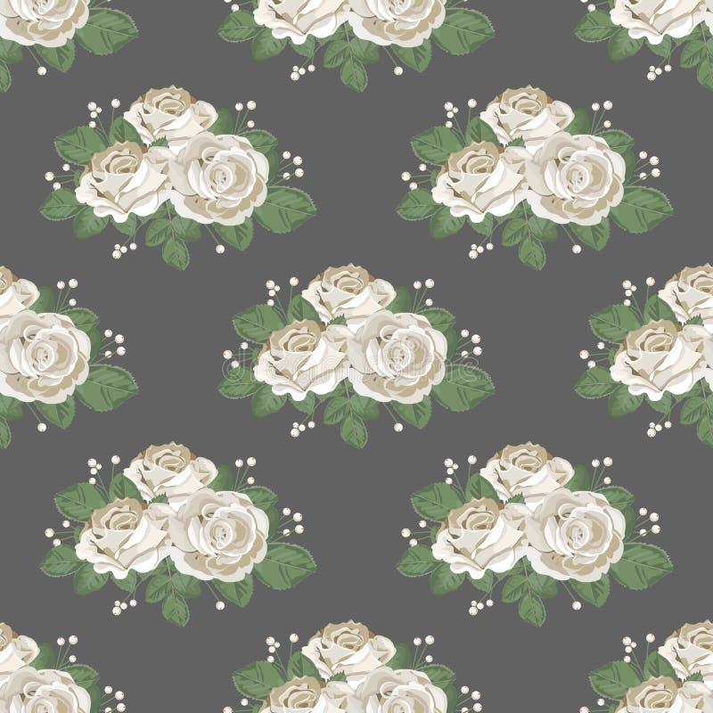 rétro sans joint de configuration florale Roses blanches sur le fond foncé Illustration de vecteur illustration de vecteur
