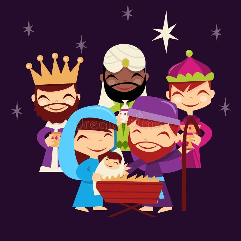Rétro scène mignonne de nativité de Noël illustration libre de droits