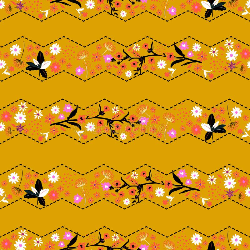 Rétro seamle doux classique à la mode de fleur de liberté de rayure de zigzag illustration de vecteur
