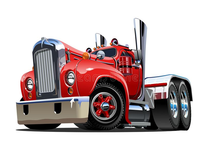 Rétro semi camion de bande dessinée illustration de vecteur